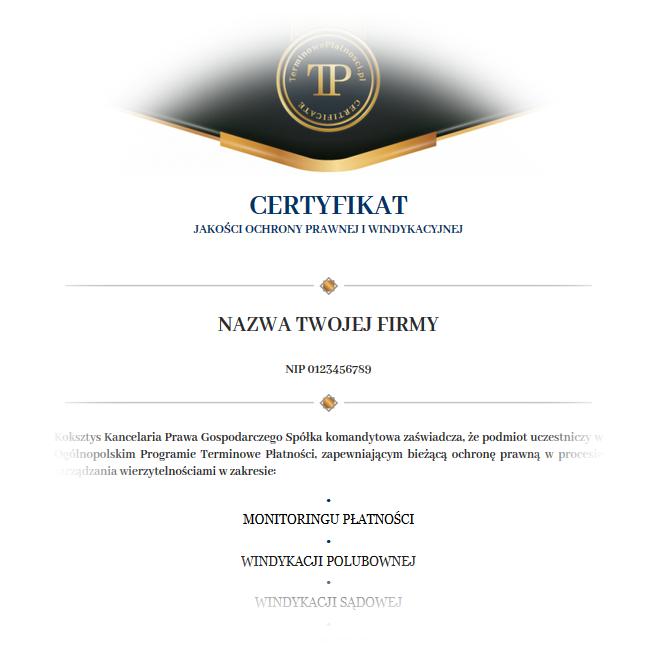 Twój Certyfikat Terminowych Płatności Online